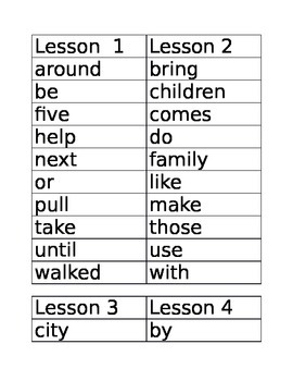High Frequency Words 2nd Grade