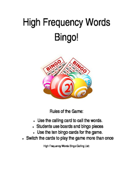 High Frequency Words Bingo Game