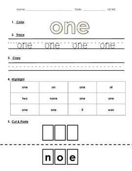 High Frequency Words- Color, Trace, Write, Cut & Paste: Re