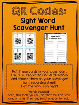 High Frequency Words QR Codes Scavenger Hunt #2