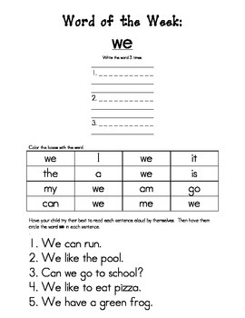High Frequency/Sight Word Practice