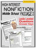 High-Interest Nonfiction Passages (Middle School)