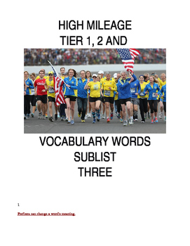 High Mileae tier1, 2 and 3 Vocabulary Words Sublist 3