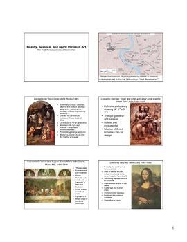 High Renaissance and Mannerist Art Notes (Italian Art)