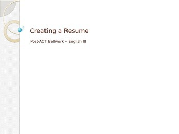 High School Bellwork - Help Students Create Resumes Step by Step