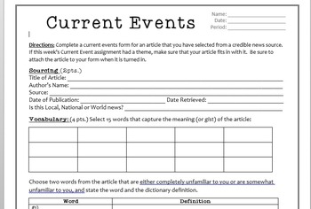 High School Current Events Outline