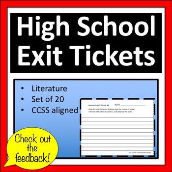 High School Exit Tickets / Exit Slips      Literature *CCS