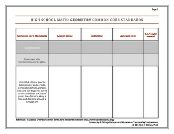 High School Geometry, Common Core Standards Lesson Plan Charts
