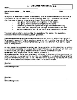 High School Literature Circle Role Sheets