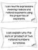 "Number & Quantity HS Math CCSS ""I Can"" Statements"