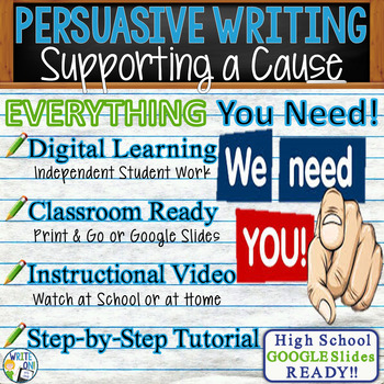 PERSUASIVE WRITING PROMPT - Supporting a Cause - High School