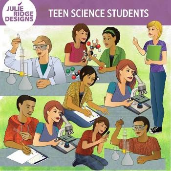 High School Students Doing Science Activities Clip Art