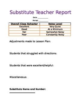 High School Teacher Sub Report
