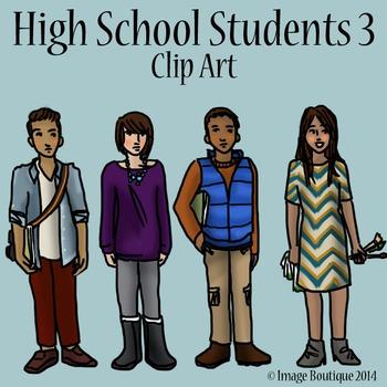 High School Teenager Students 3 Clip Art