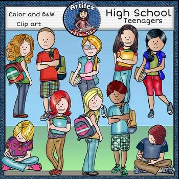 High School  clip art- color and B&W