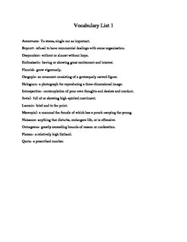 High School Vocabulary Tests 1