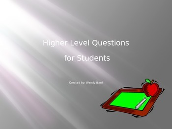 Higher Level Questions for First & Second Graders
