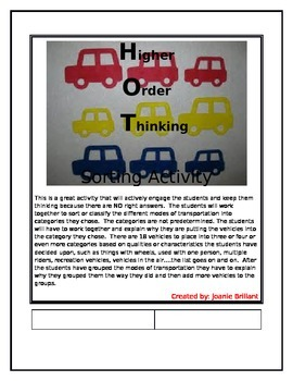 Higher Order Thinking Sorting Transportation