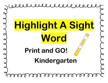 Highlight a Sight Word Kindergarten