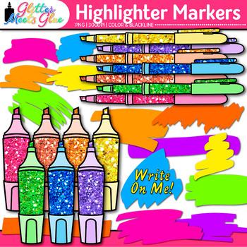 Highlighter Marker Clip Art {Neon Back to School Supply Gr