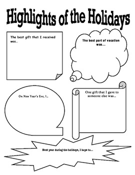 """""""Highlights of the Holidays"""" New Year Reflection Activity"""