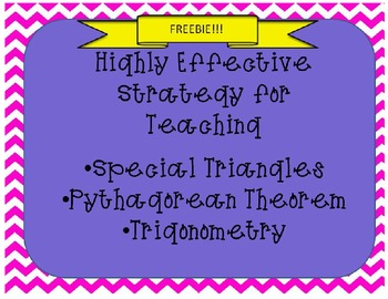 Highly Effective Strategy for Teaching Right Triangles - FREEBIE!