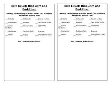 Hinduism/ Buddhism Exit Ticket