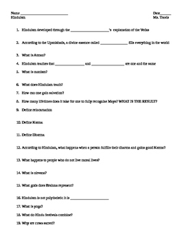 Hinduism worksheet: fill in the blank student worksheet