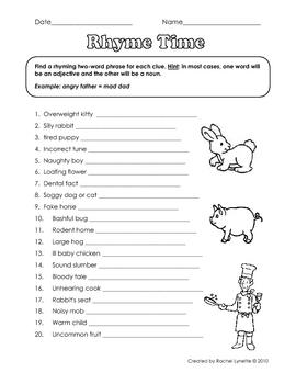 Hinky Pinky, Rhyming Word Pairs, Creative Thinking Fun!