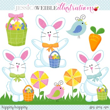 Hippity Hoppity Cute Digital Clipart, Easter Bunny Clip Art
