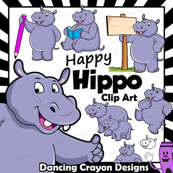 Hippo Clipart with Signs