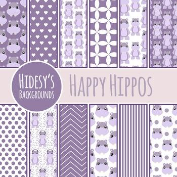 Hippo / Hippopotamus Background / Digital Paper / Pattern