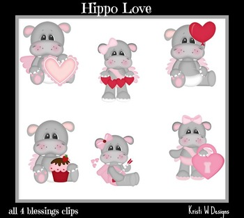 Hippo Love Clip Art ~ perfect for Valentines Day!
