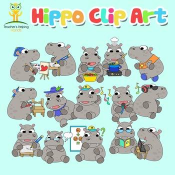 Hippos Clip Art - 34 Hippopotamus educational settings Col