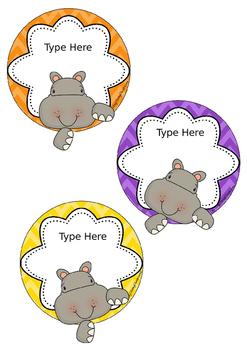 Hippos Editable Name Tags - Custom Order for Lauren
