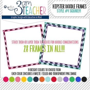 Hipster Doodle Frames: Style #4 Clipart Set