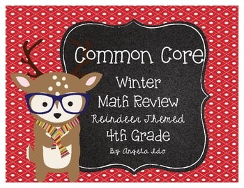 Hipster Reindeer Themed Math Review Common Core Aligned NB