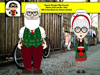 Hipster Santa and Mrs. Claus Clip Art Freebie