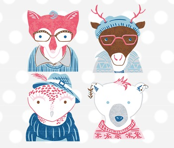 Hipster Winter Woodland Animals Clip Art, hipster animal c