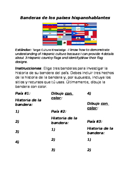 Hispanic Country Flags Research Activity