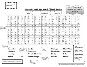 Hispanic Heritage Month Word Search