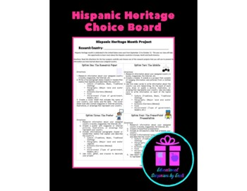 Hispanic Heritage: Project Choice Board (Differentiated In