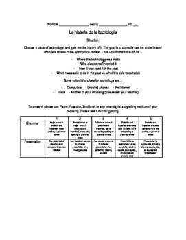 Historia de tecnologia (history of technology) project Spanish