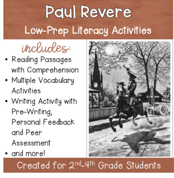Paul Revere - Social Studies Packet for Grades 2-4 with Li