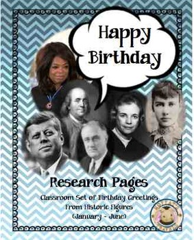 Historical Characters Birthday Buddies Card and Research P