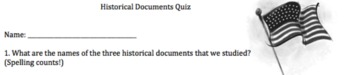 Historical Documents Quiz-Declaration, Bill of Rights, Con
