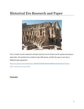 Historical Era and Paper