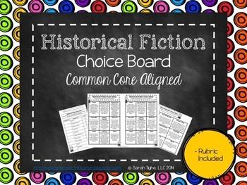 Historical Fiction Genre Study Choice Board (Common Core Aligned)