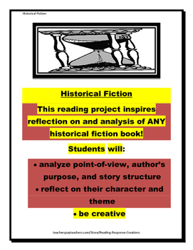 Historical Fiction Book Report: Reading Response Pages (no