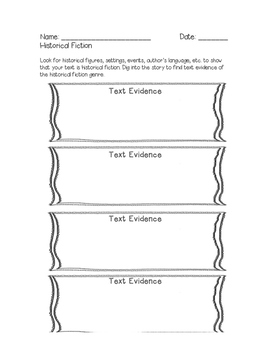Historical Fiction Text Evidence Graphic Organizer